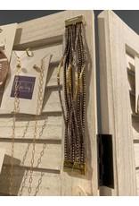 MYS Wholesale Leather magnetic bracelet gold gray