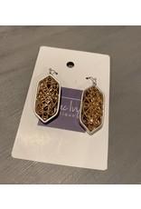 H- Silver w/gold filigree dangle earrings