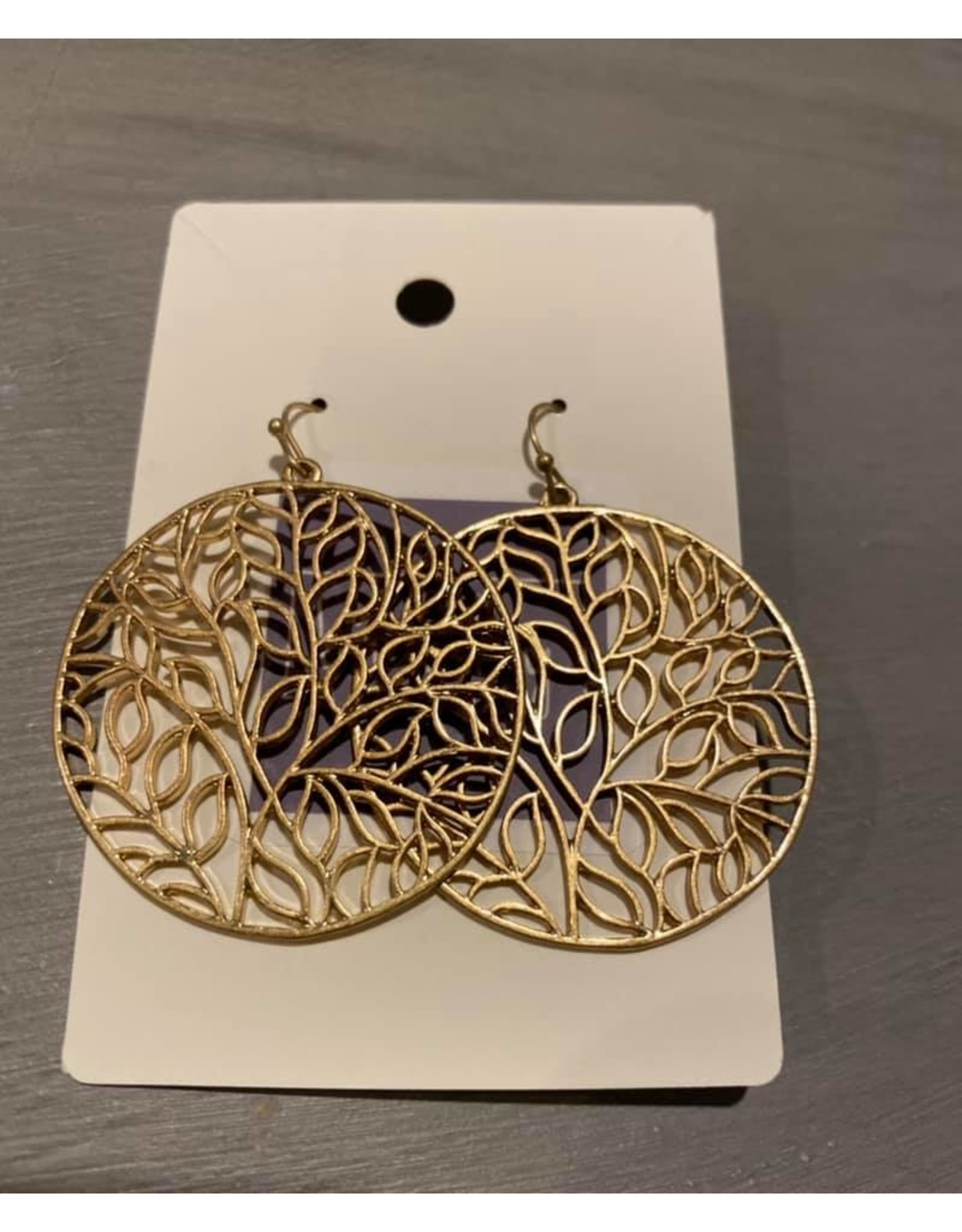 H- large gold round vine wire earrings