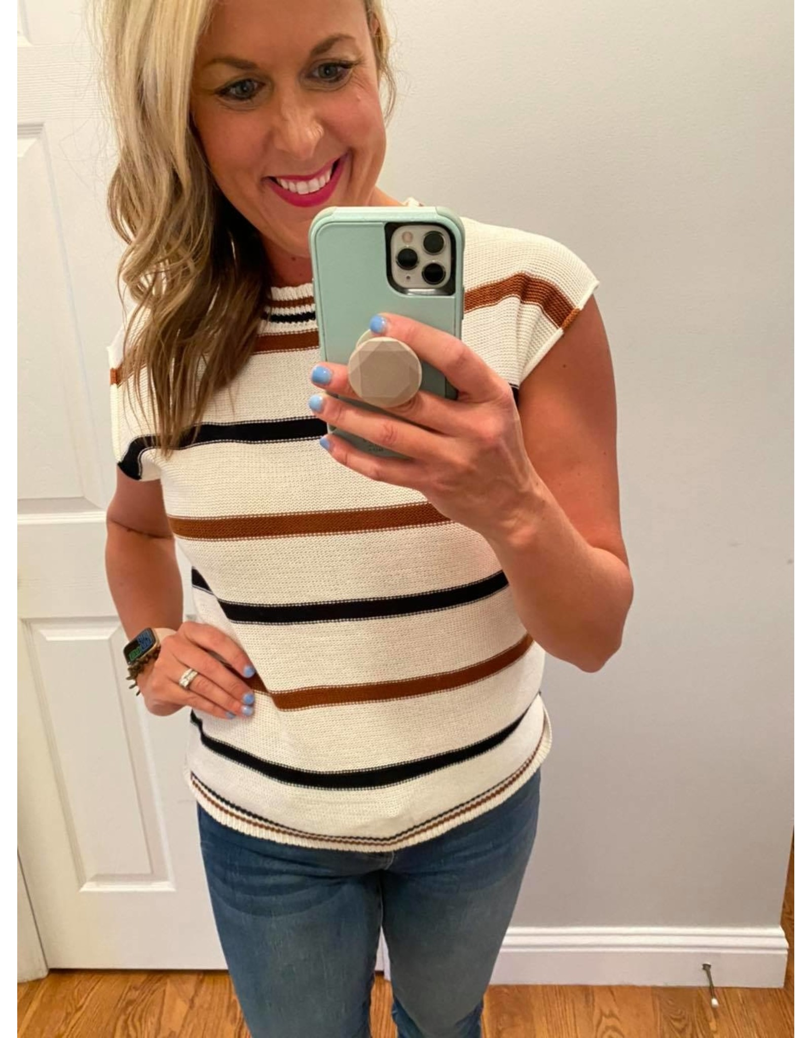 Shewin Striped short sleeve knit top