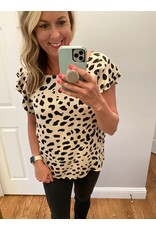 Les Amis Leopard print top wtith wide flutter sleeves