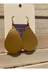 Fame Accessories Small leather tear drop earrings - black or gold