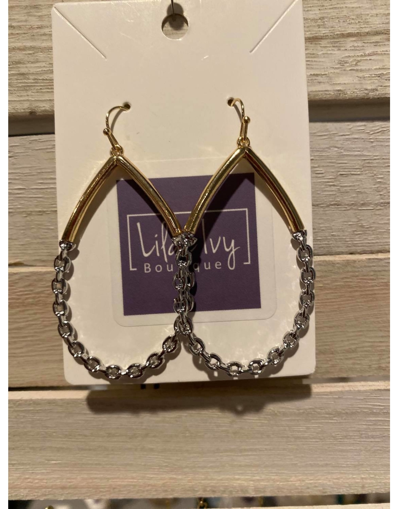 Gold with silver link earrings