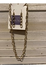 Gold chain link necklace and earrings