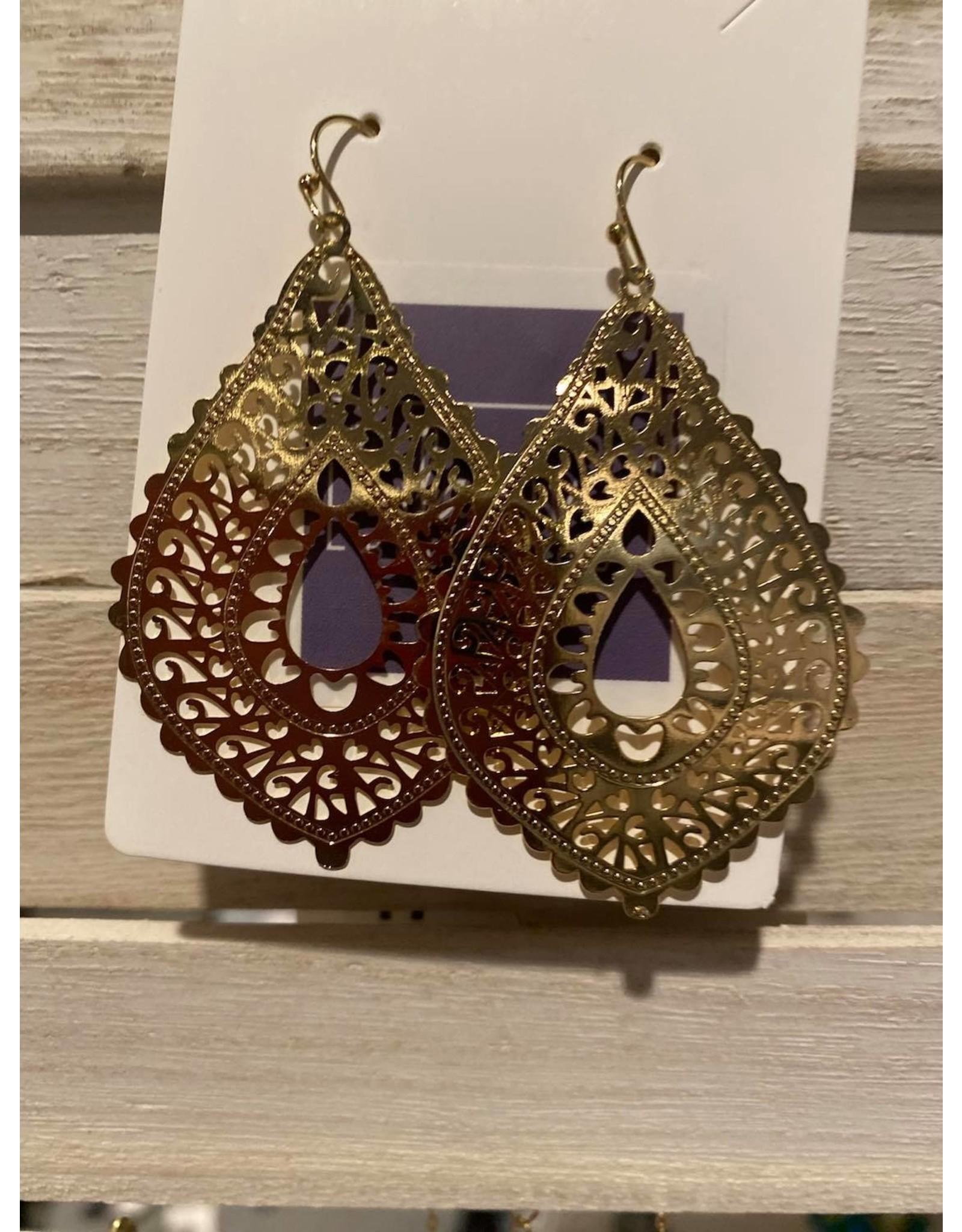 Teardrop filigree earrings