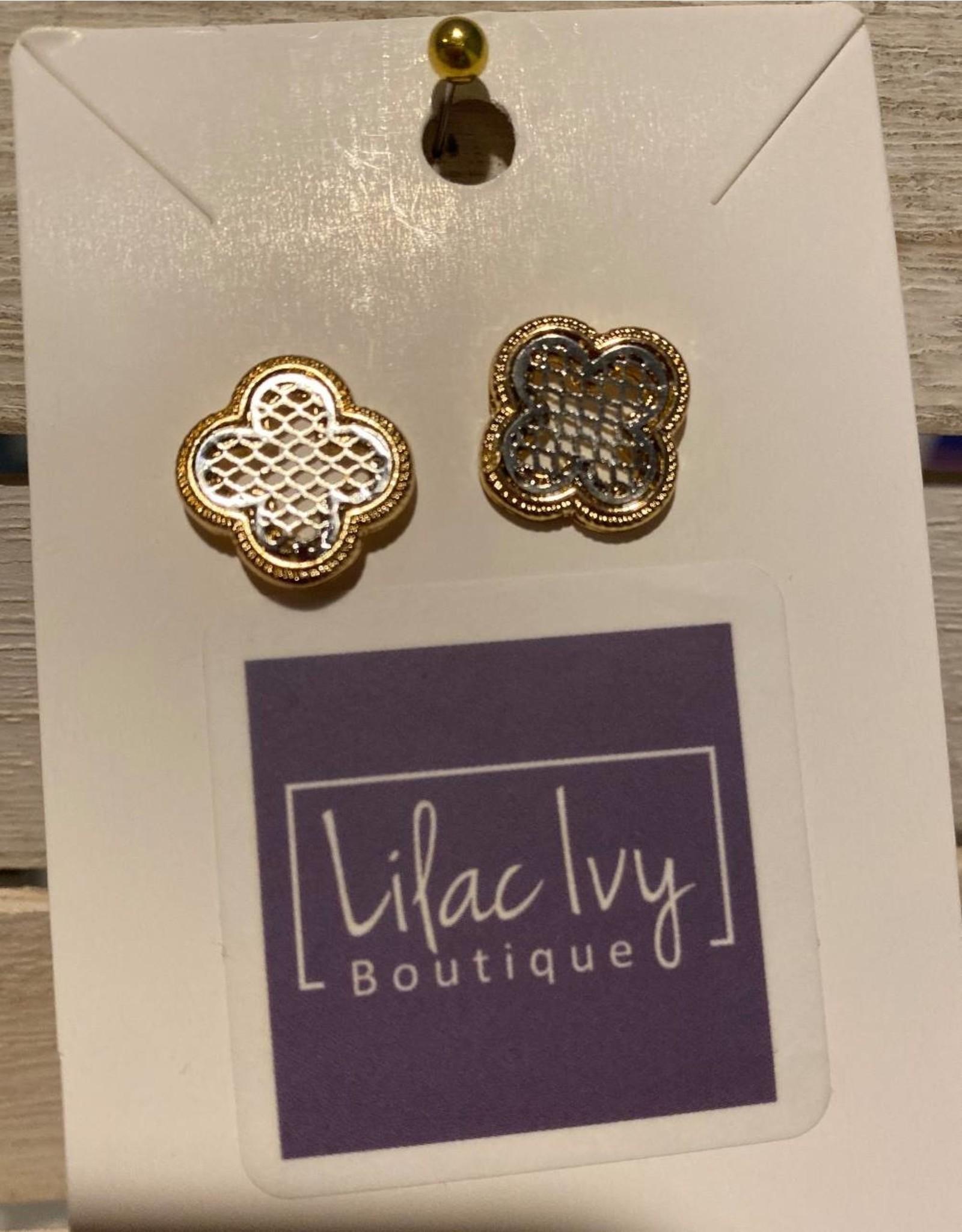 Gold filigree tb post earrings