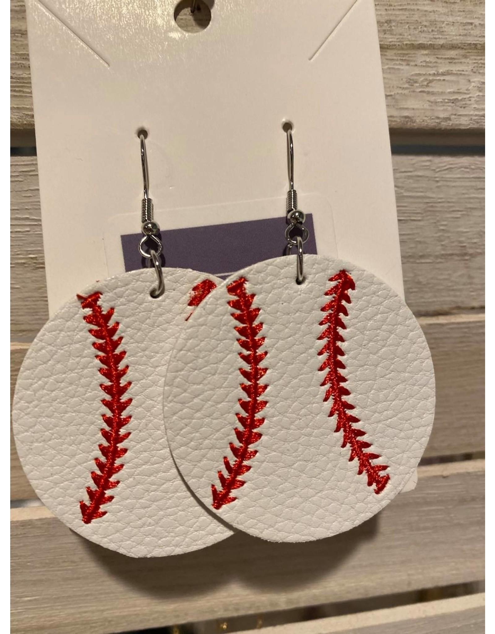 Round Baseball Earrings