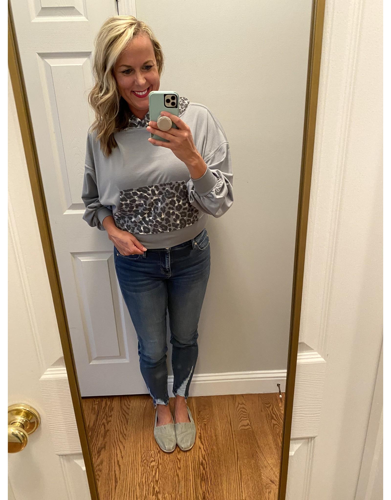 Zenana Drop shoulder leopard hoodie