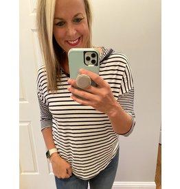 Clique 1 Co Stripe jersey vneck hoodie navy