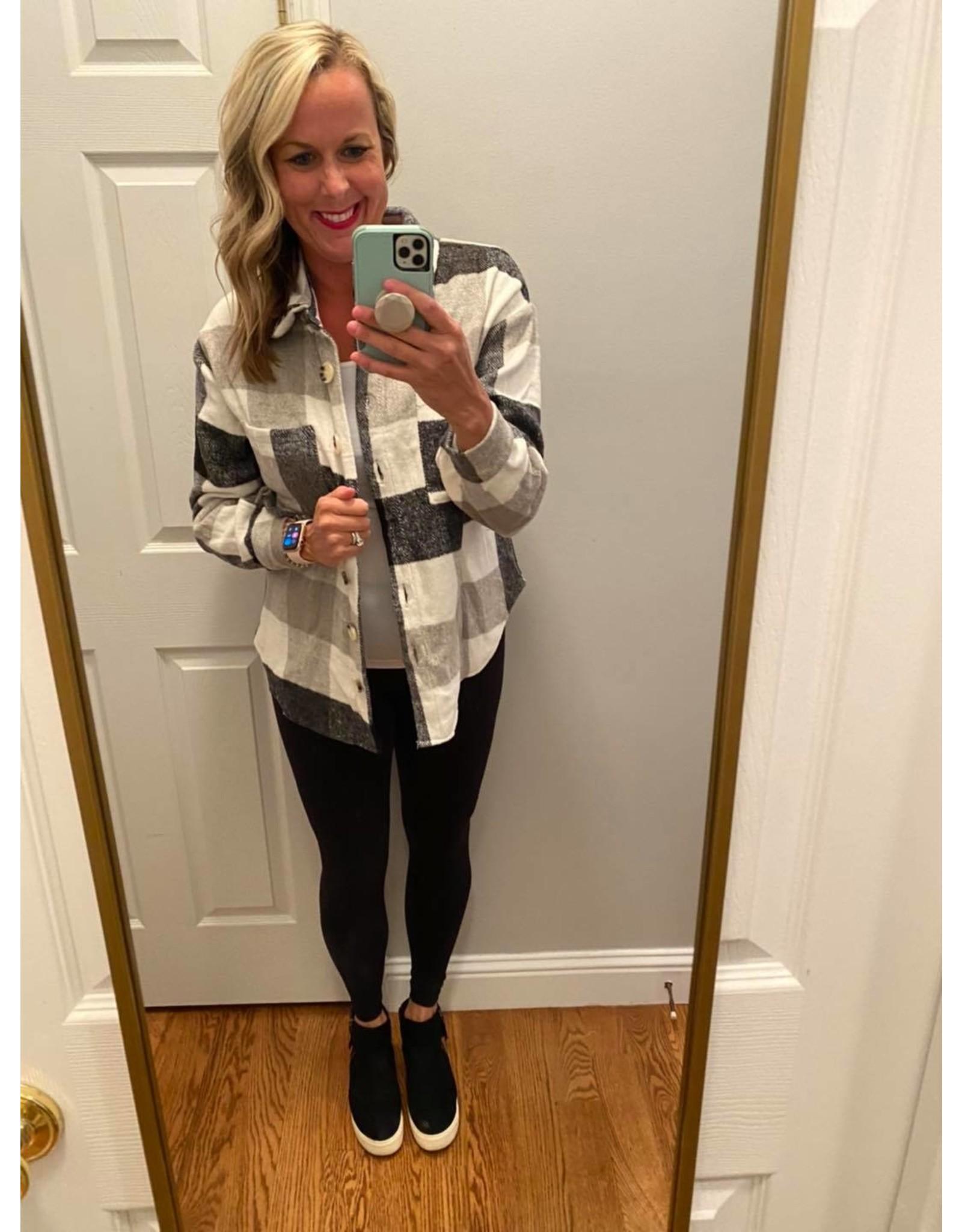 Shewin Flannel button jacket black grey