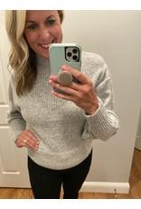 Zenana Baloon sleeve mock neck sweater grey
