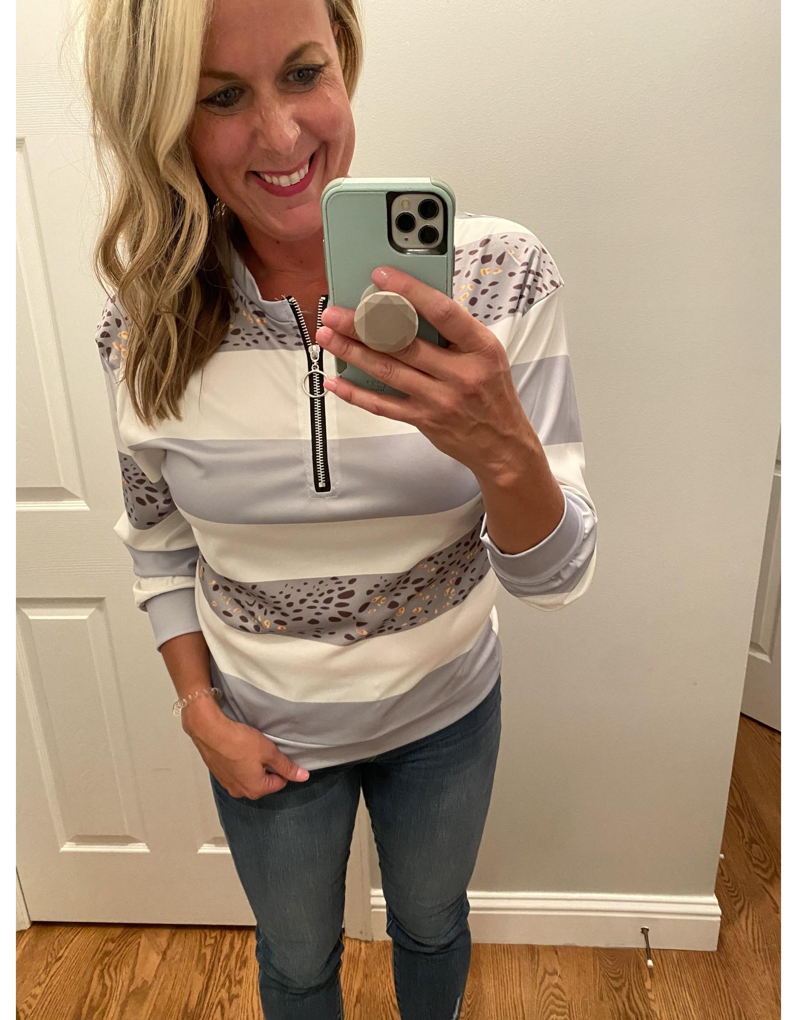 Nihad Animal print stripe golf shirt