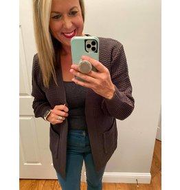 Zenana Waffle open cardigan with pockets Gray or Tan
