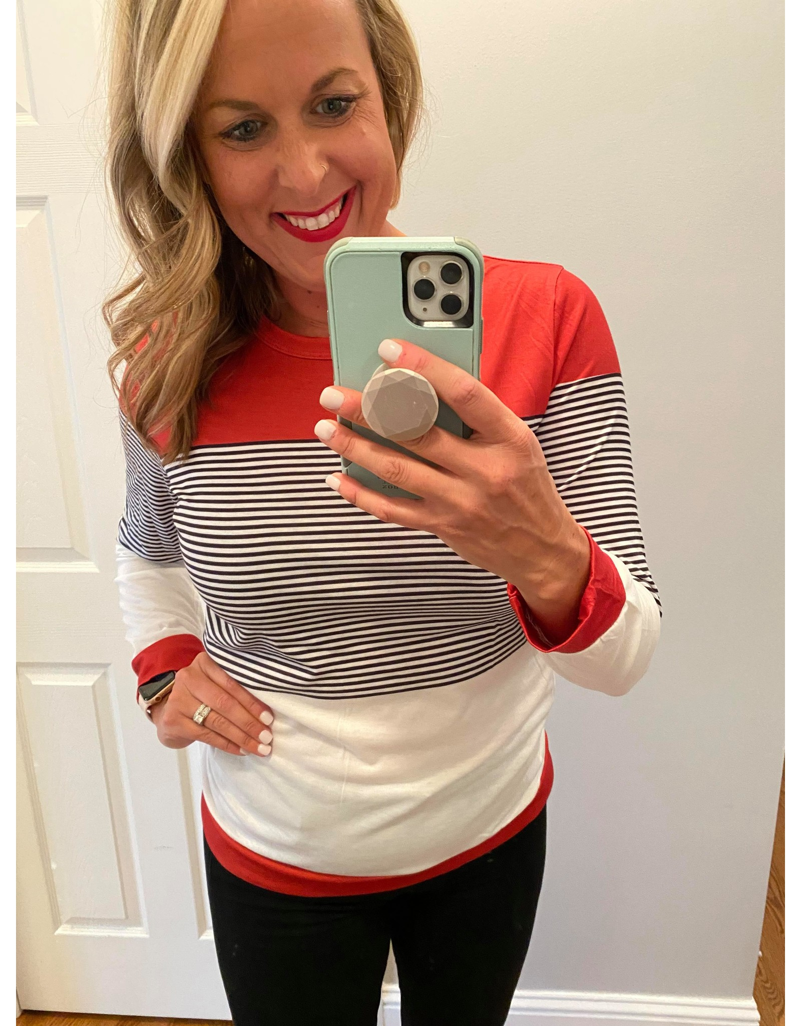 Adele B. Long sleeve striped with color block detail red