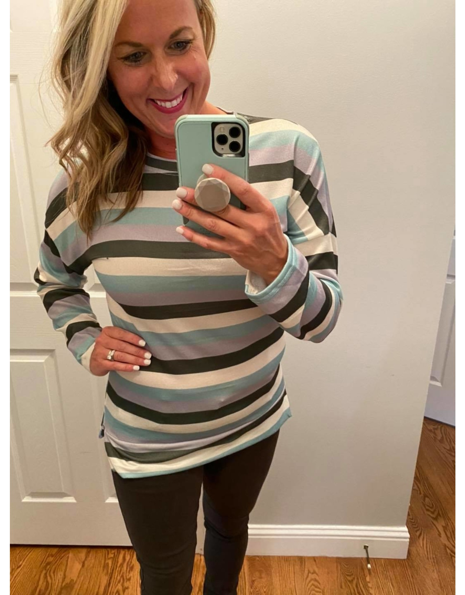 Shewin Striped long sleeve top green stripe