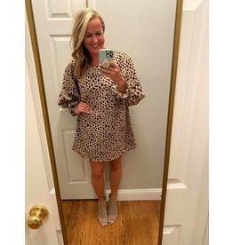 Vision Polka dot bubble sleeve shift dress - taupe or black