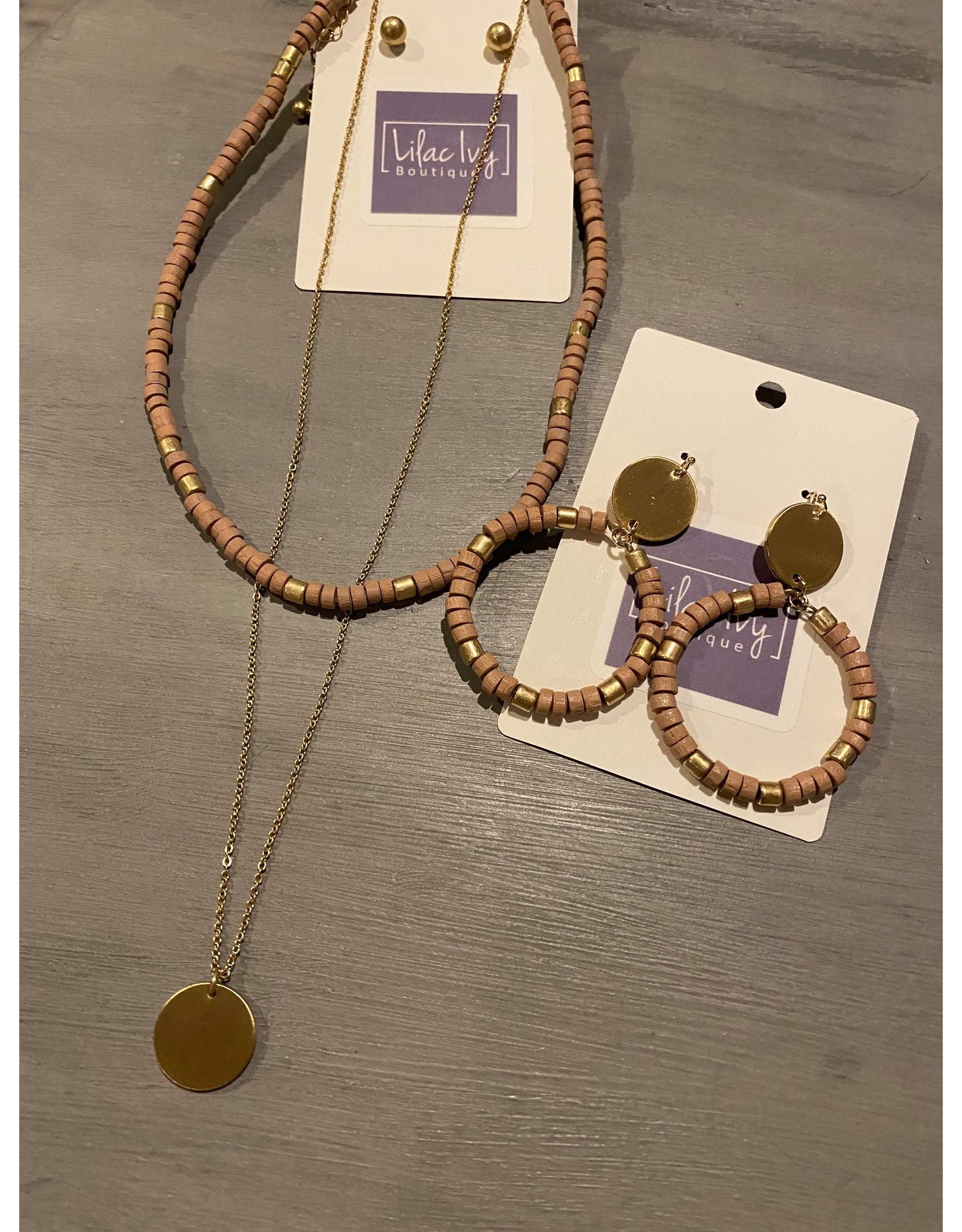 What's Hot Blush pink wood and gold earring