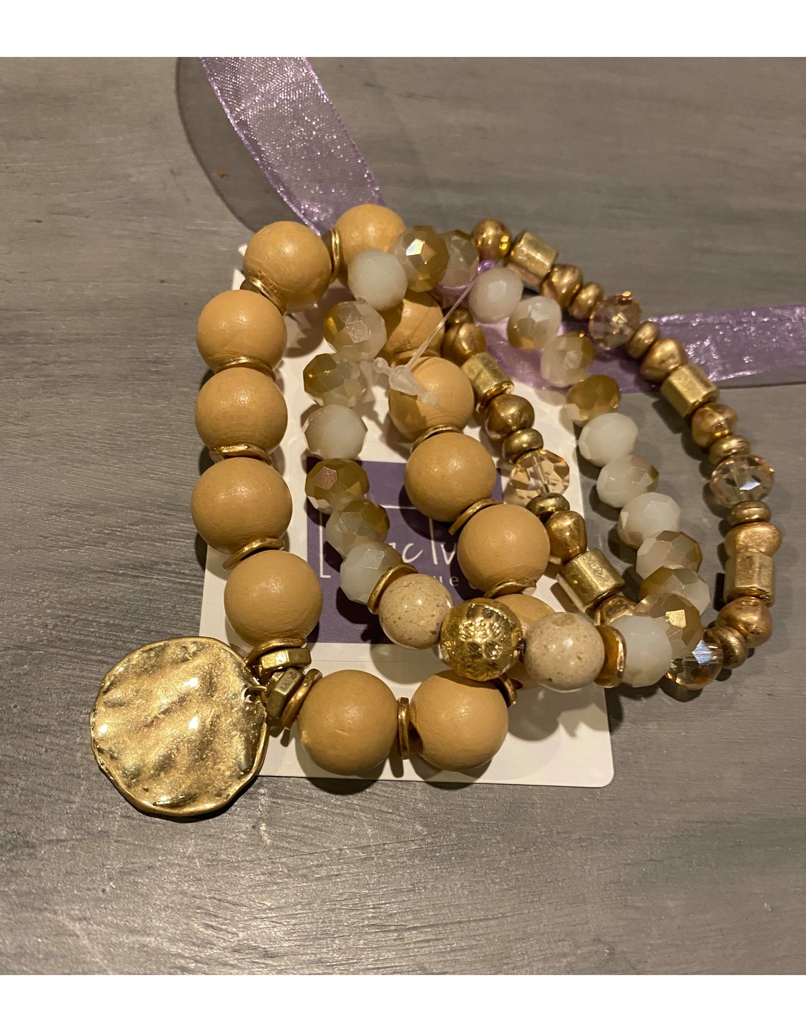 What's Hot Set of 3 natural stone stretch bracelet