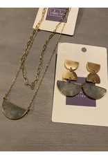 """What's Hot Gold chain with half moon stone layered necklace 16-18"""""""