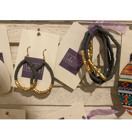 What's Hot Grey and gold teardrop earrings