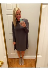 Zenana Long sleeve swing dress ash gray
