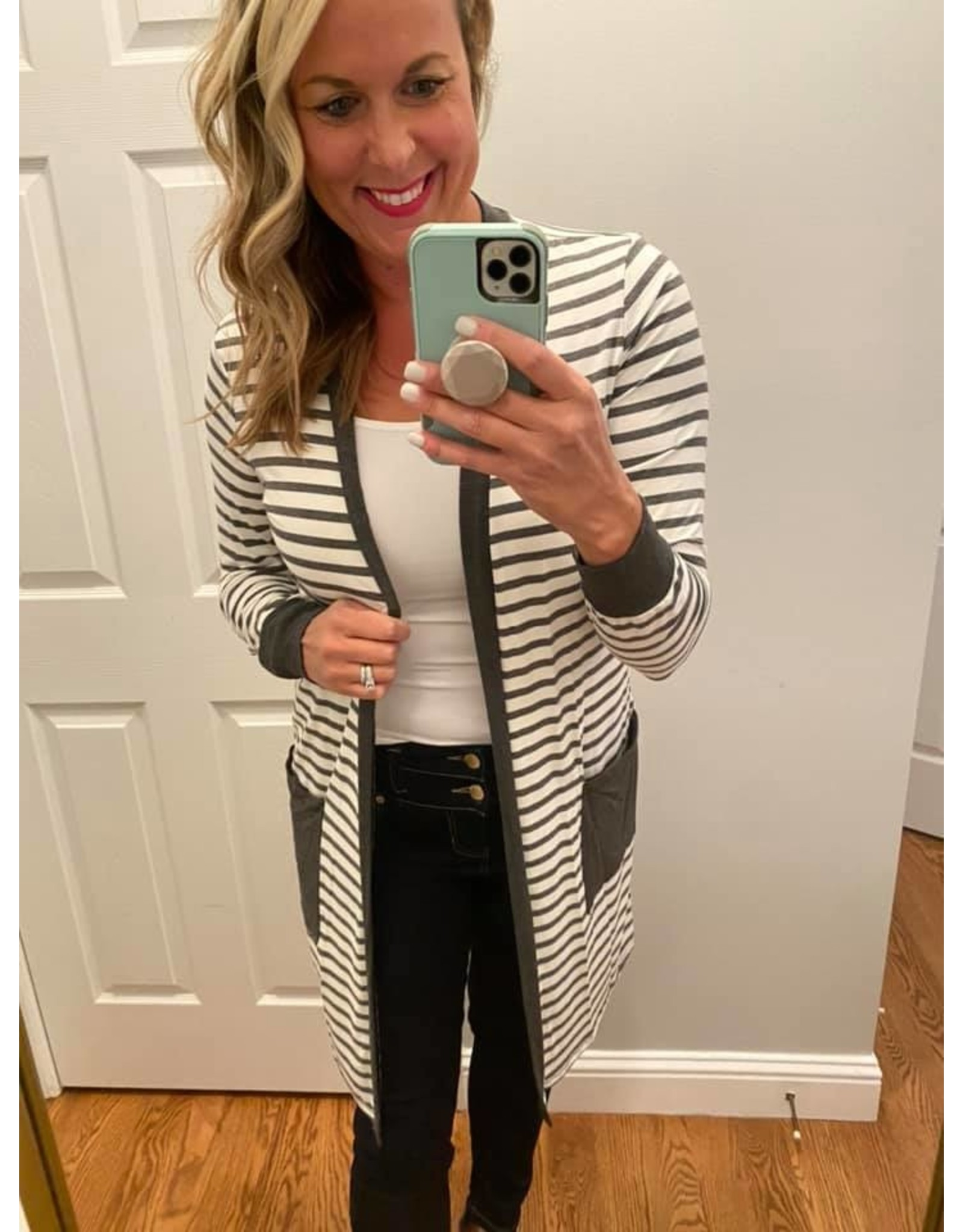 Les Amis Stripe cardigan with pockets charcoal