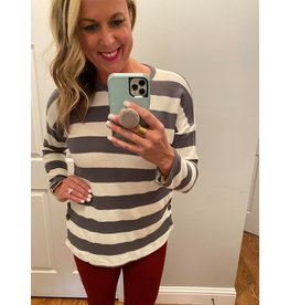 Hailey & Co Long sleeve striped tunic with button detail