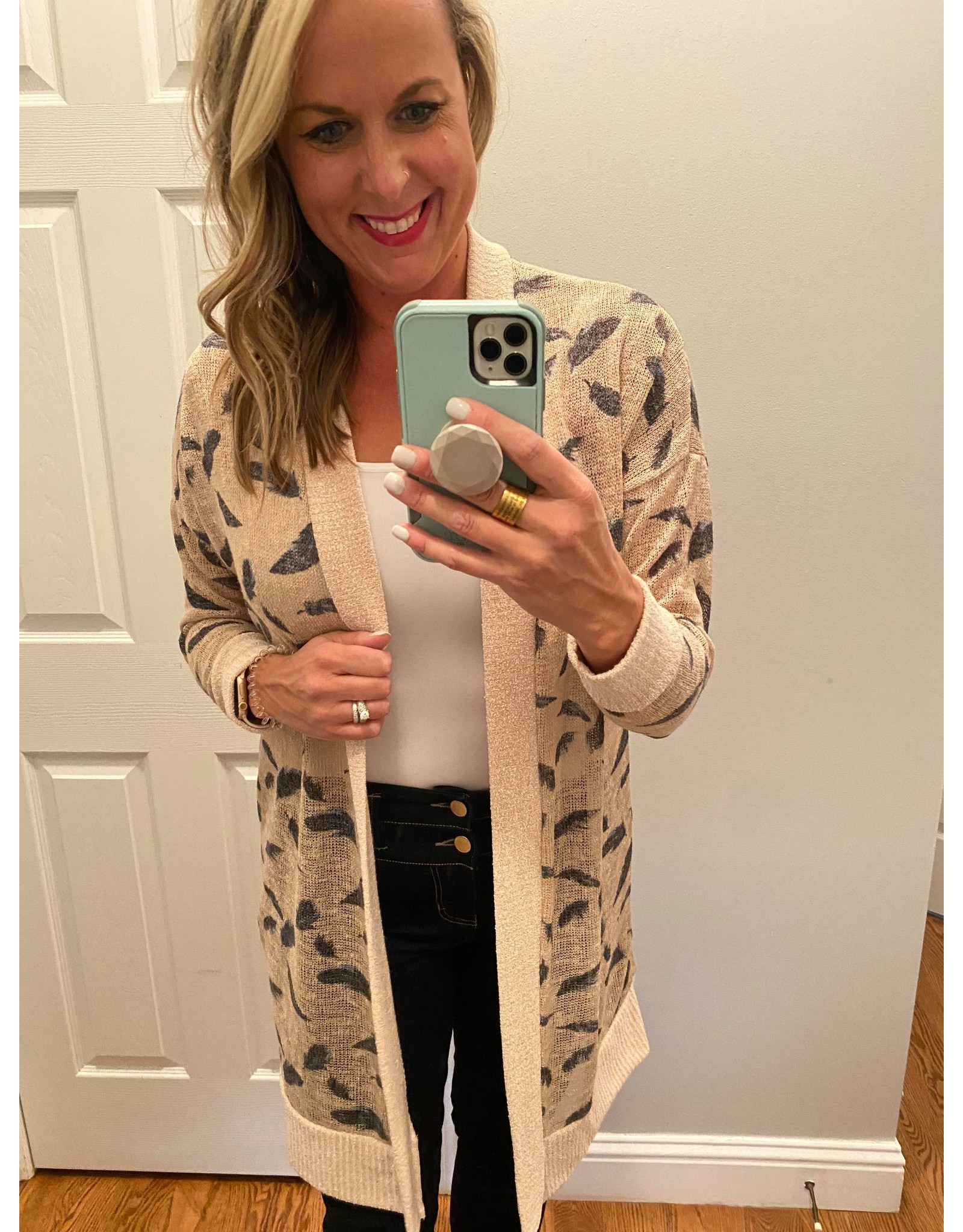 Hailey & Co Feather print open cardigan