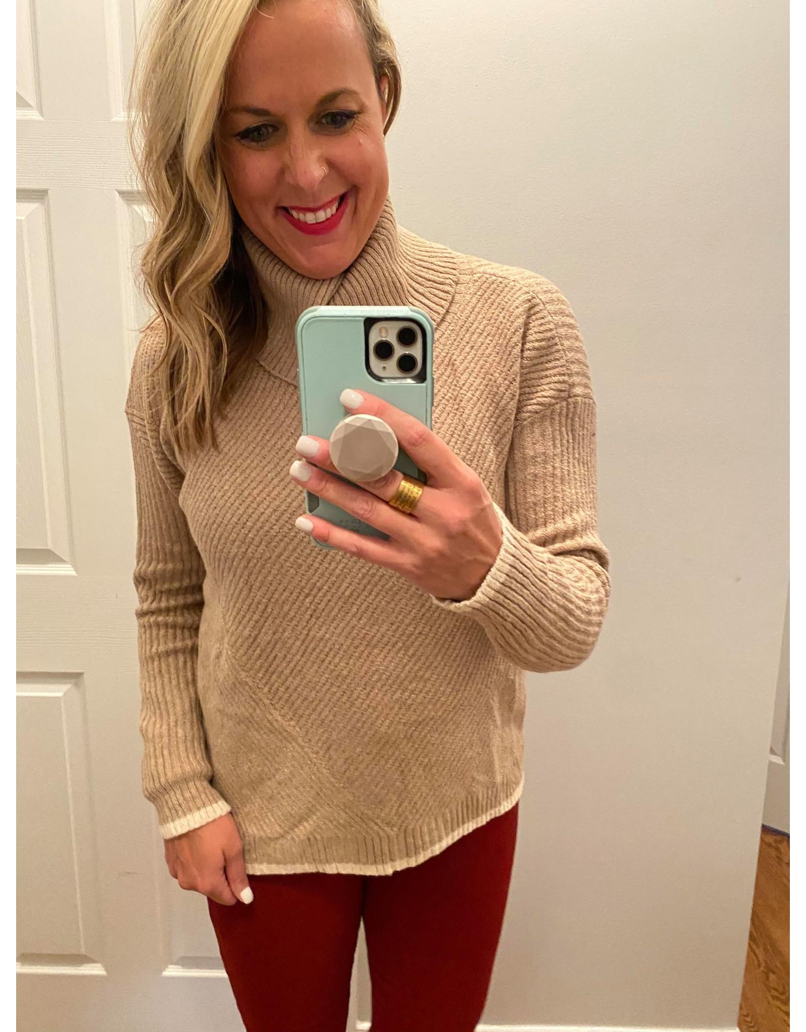 Solution Turtle neck patterned sweater khaki