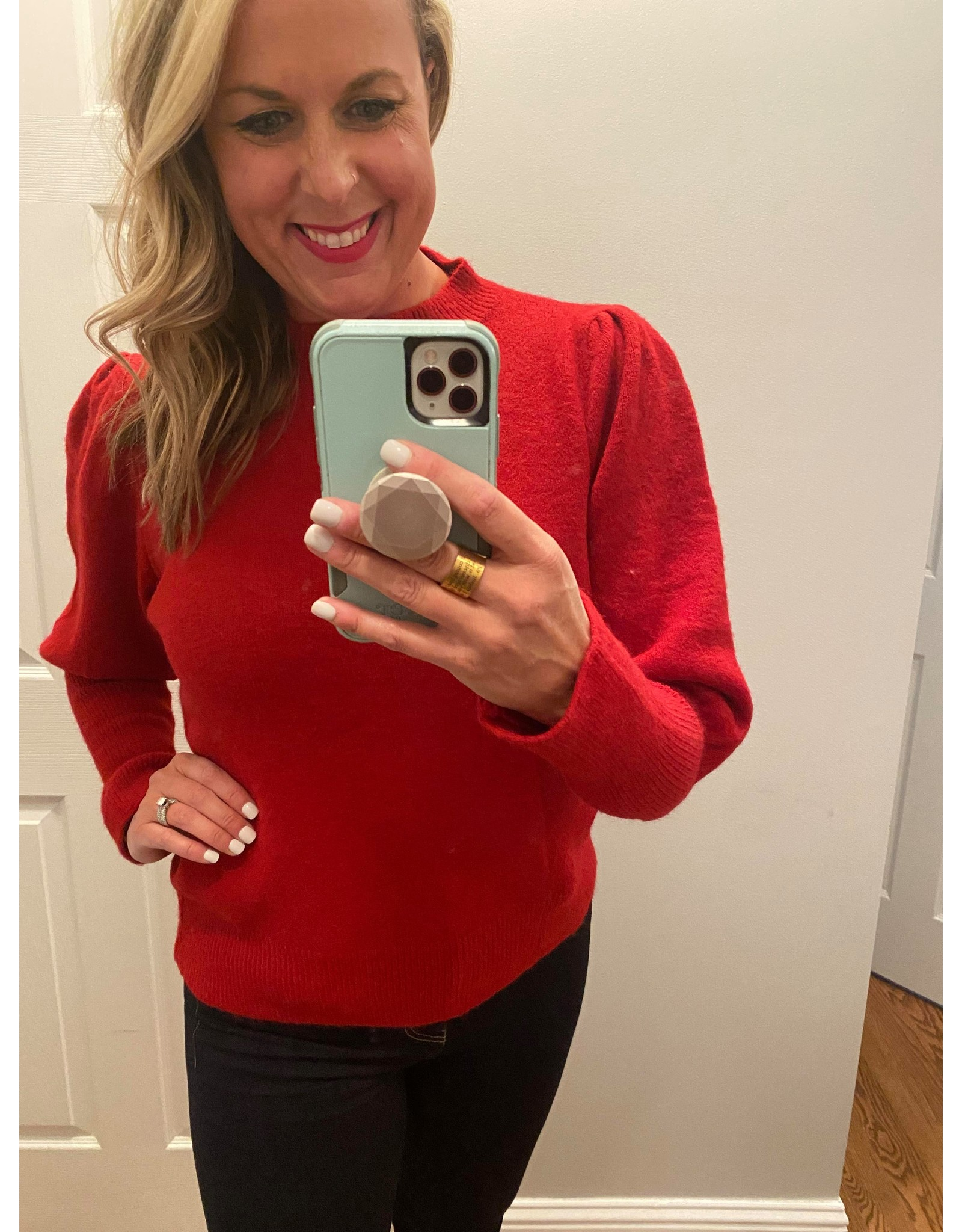 Urban Chic Long puff sleeve sweater red