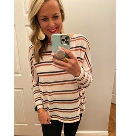 Urban Chic Long dolman sleeve stripe tunic navy rust