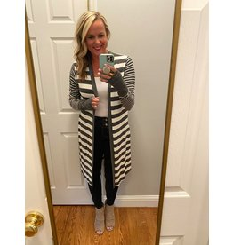 Urban Chic Long sleeve strip thumbhole open cardigan dark grey