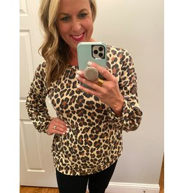 Urban Chic Long puff sleeve leopard tuic taupe