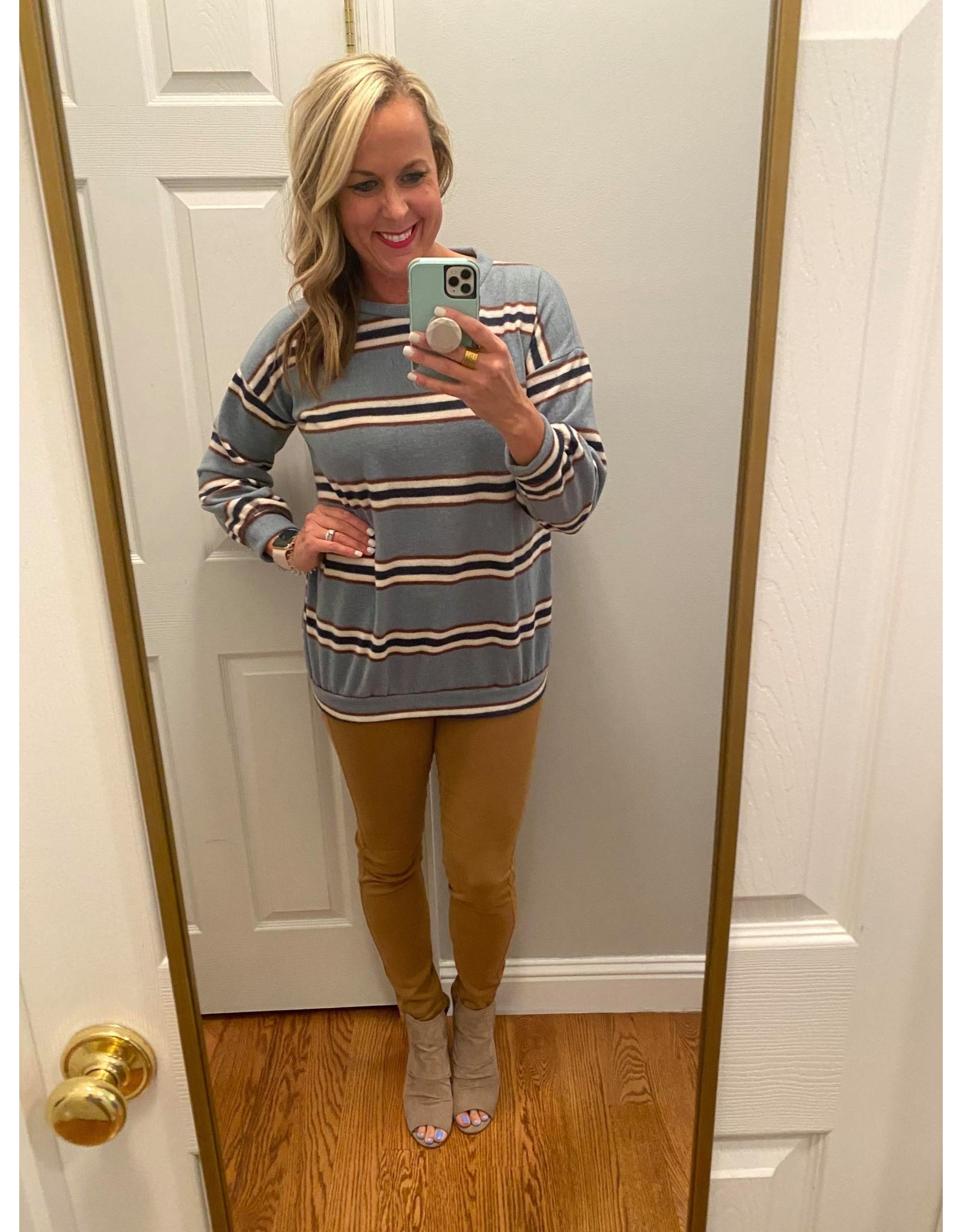 Urban Chic Long sleeve stripe tunic blue