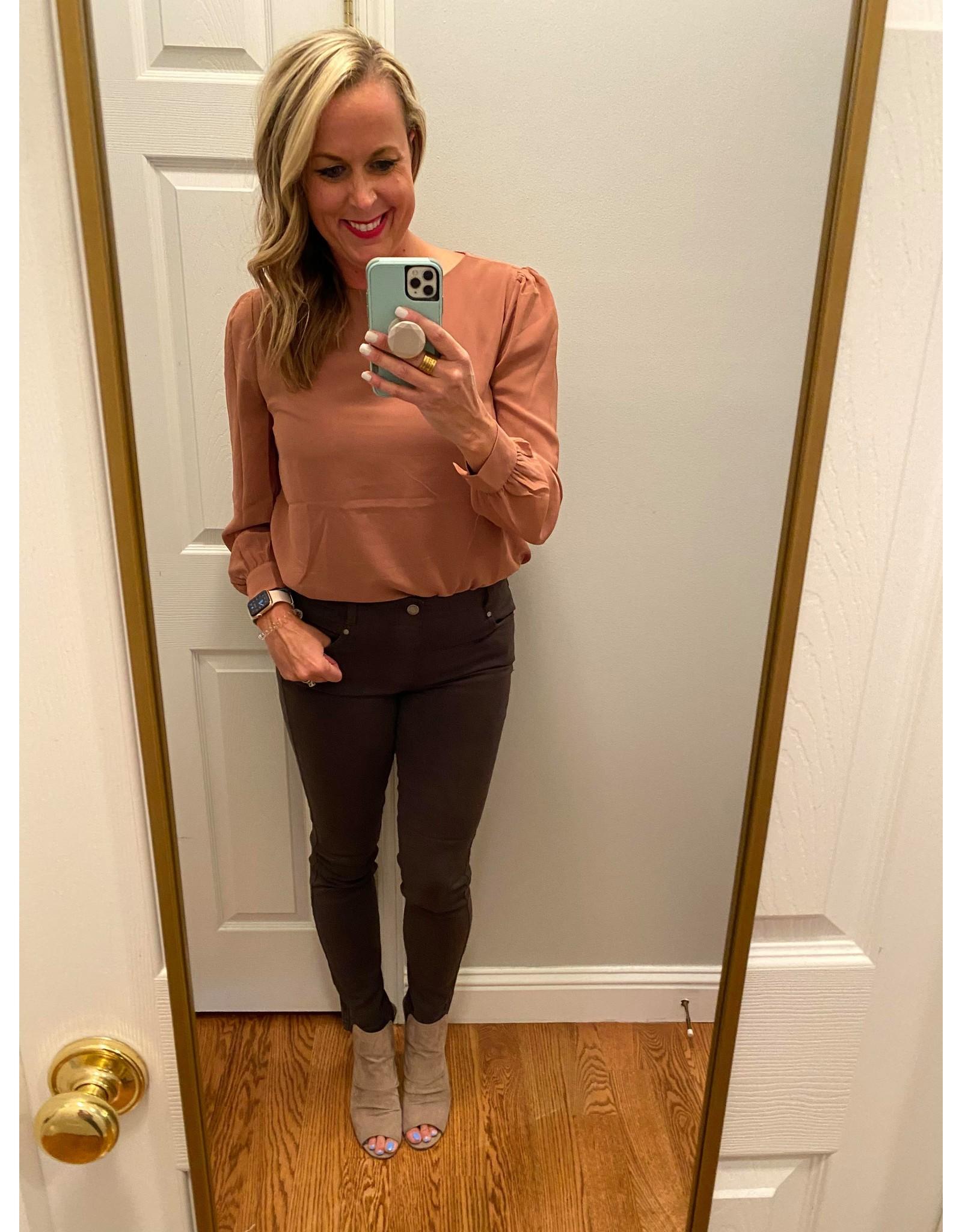 Zenana Chiffon long sleeve blouse deep camel
