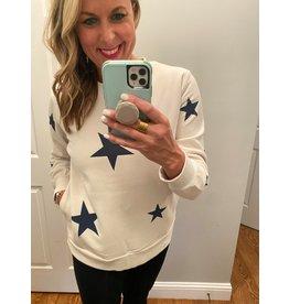 Zenana Star pattern sweatshirt navy white