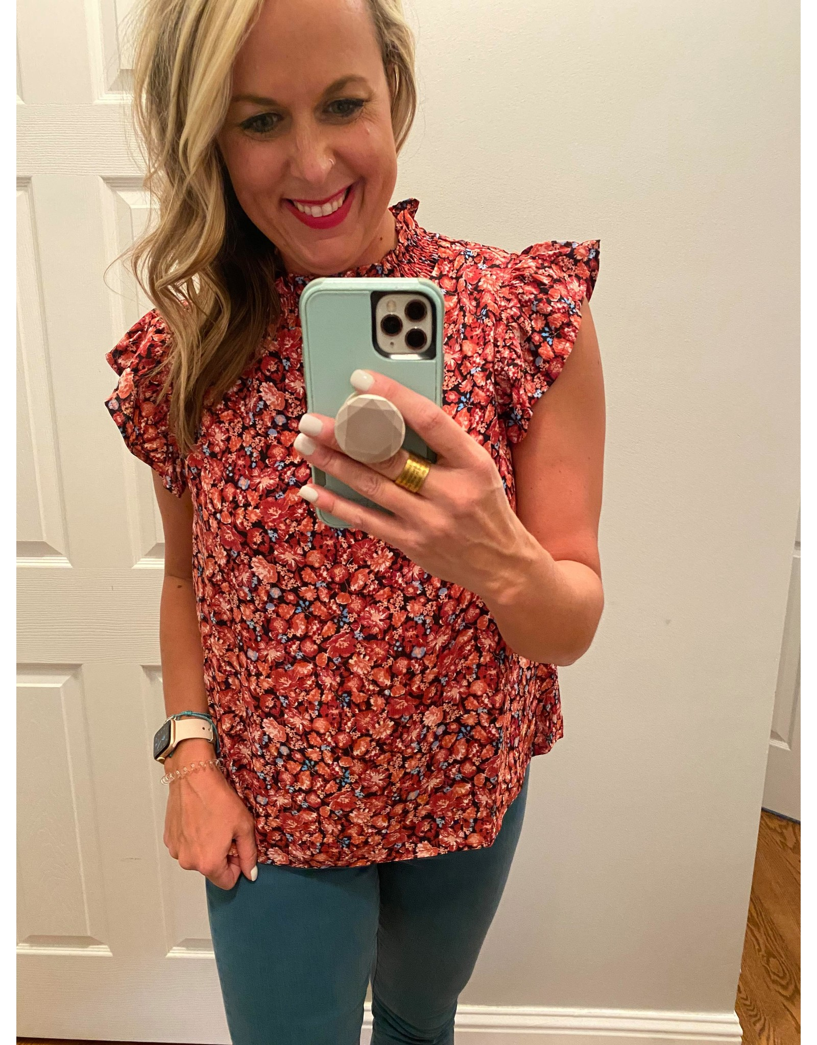 Voy Print blouse with ruffle sleeves and tie neck burgundy
