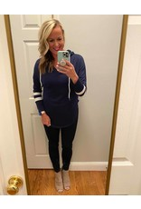 Shewin Solid with striped sleeve hoodie navy