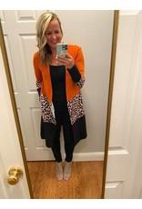 Shewin Leopard color block open cardigan orange