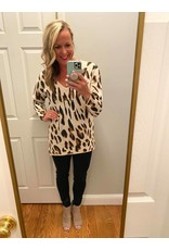 Shewin Leopard  pull over v neck knit tunic