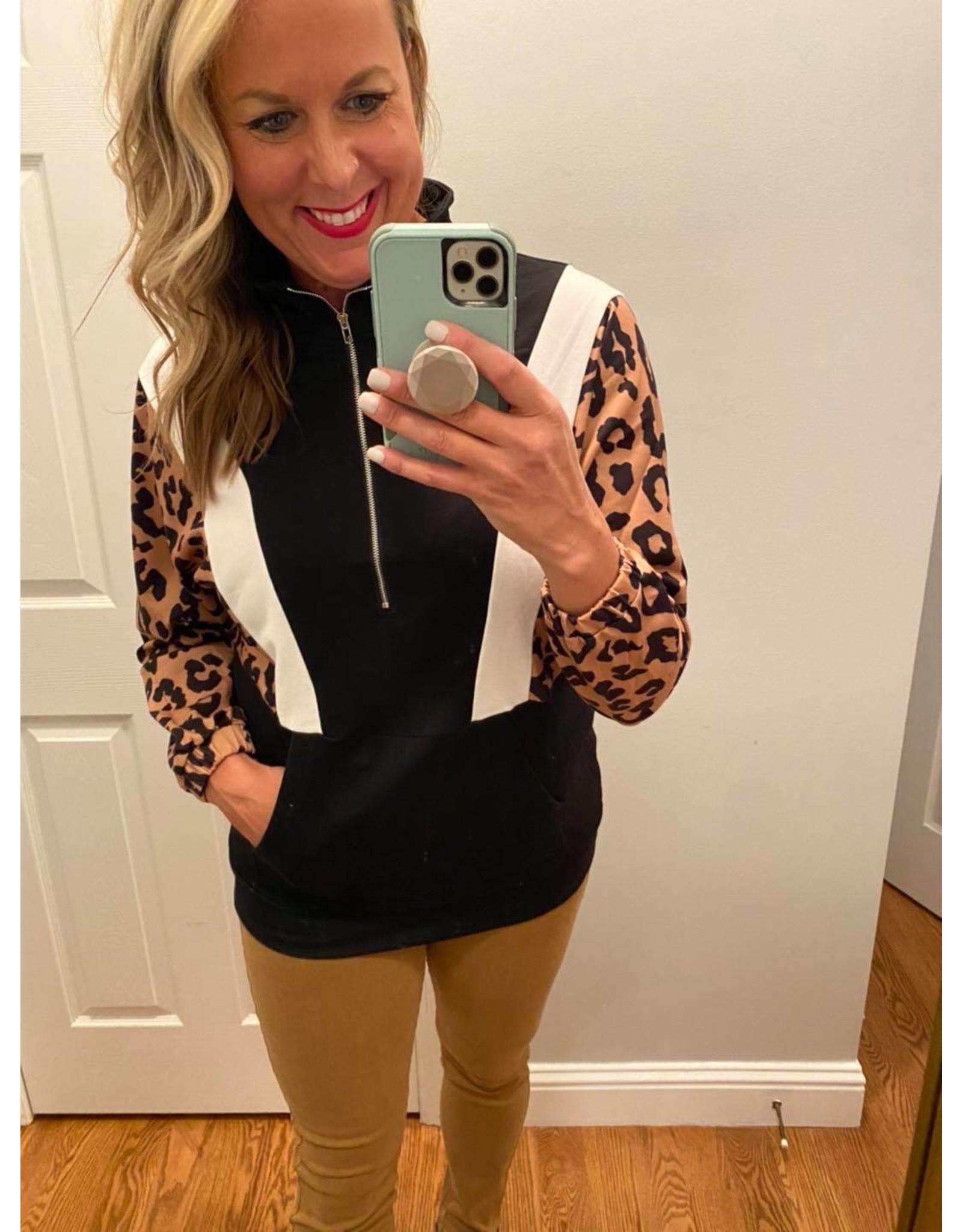 Shewin Half zip leopard pullover black