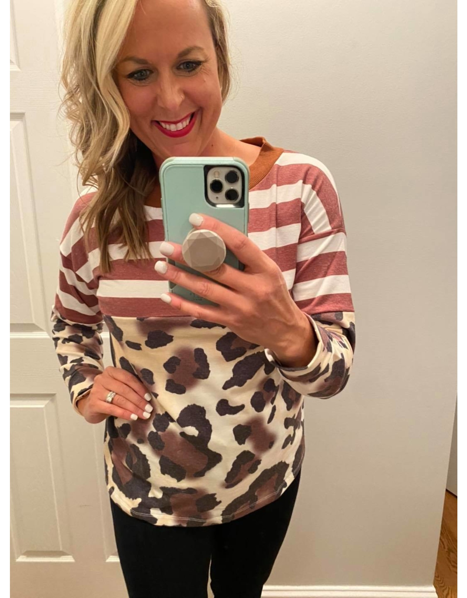 Shewin Long sleeve striped and leopard top