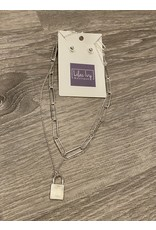 What's Hot Matte silver chain with locket charm necklace