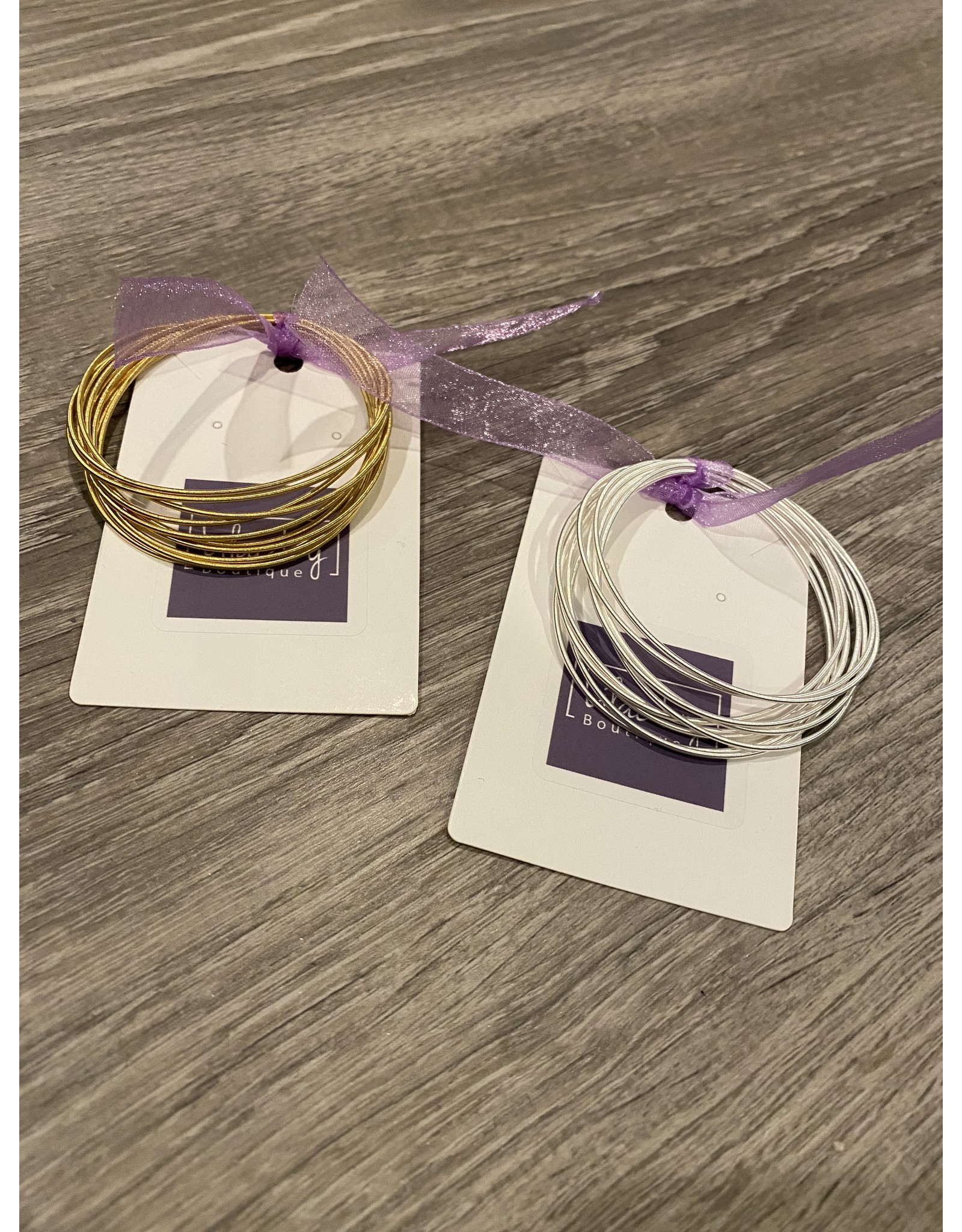 What's Hot Bella bracelets silver set of 10 Stretch bracelets