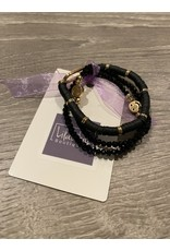 What's Hot Black crystal and gold stretch bracelet