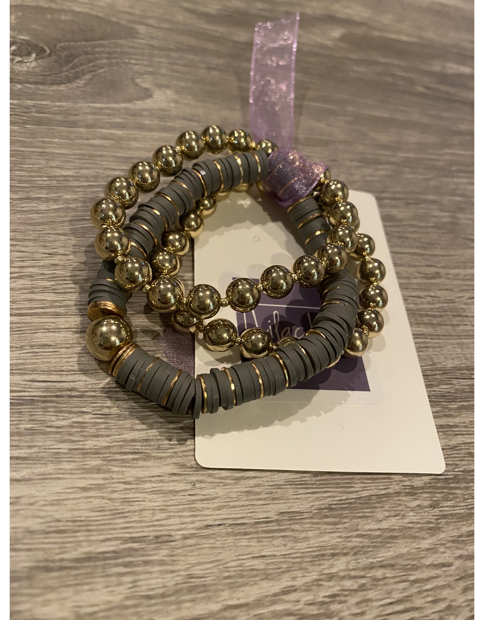 What's Hot Gray and gold beaded set of 3 stretch bracelets