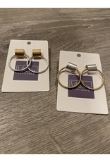 What's Hot Gold hoop with silver stud earrings