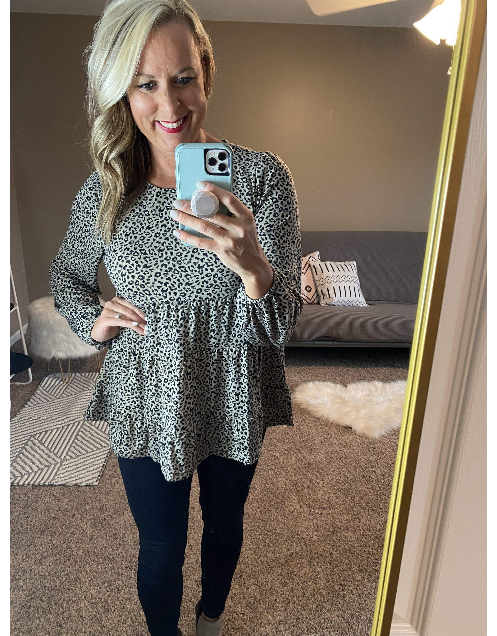 Andre by Unit Leopard round neck babydoll top olive