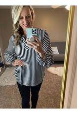 Andre by Unit Balloon sleeve stripe blouse black white