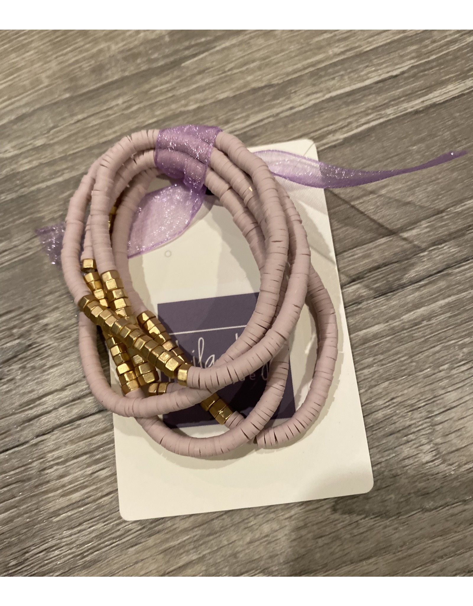 What's Hot Blush pink and gold set of 5 stretch bracelets